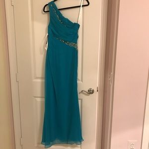 Cinderella Dresses - One shoulder rhinestone prom formal dress